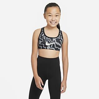 Nike Swoosh สปอร์ตบราเด็กโตใส่ได้ 2 ด้านพิมพ์ลาย (หญิง)