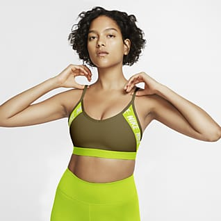 Nike Dri-FIT Indy Sujetador deportivo de sujeción ligera con logotipo acolchado para mujer