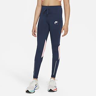 Nike Air Dri-FIT Löparleggings med hög midja för ungdom (tjejer)