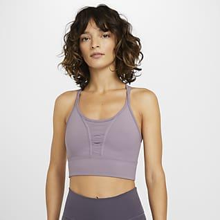 Nike Dri-FIT Женская укороченная майка для тренинга со шнуровкой