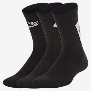 Nike Everyday Κάλτσες μεσαίου ύψους με αντικραδασμική προστασία για μεγάλα παιδιά (3 ζευγάρια)