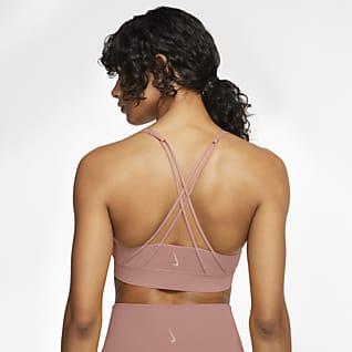 Nike Swoosh Luxe Sujetador deportivo de línea larga con almohadilla de sujeción media para mujer
