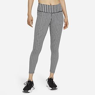 Nike Dri-FIT One Icon Clash เลกกิ้งพิมพ์ลายเอวปานกลาง 7/8 ส่วนผู้หญิง