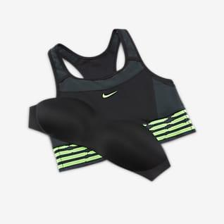 Naija Swoosh Damski stanik sportowy z jednoczęściową kieszenią na wkładkę zapewniający średnie wsparcie