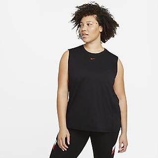 Nike Dri-FIT Camisola de treino sem mangas às riscas com blocos de cor para mulher (tamanhos Plus)