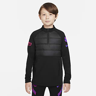 FC Barcelona Academy Pro Winter Warrior Nike Therma-FIT fotballtreningsoverdel til store barn