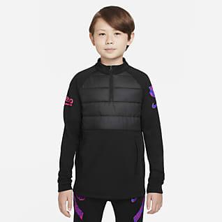 FC Barcelona Academy Winter Warrior Fotbalové tréninkové tričko Nike Therma-FIT pro větší děti