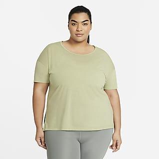 Nike Yoga Damska koszulka z krótkim rękawem (duże rozmiary)