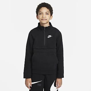 Nike Sportswear Club Overdel med 1/2 lynlås til større børn (drenge)