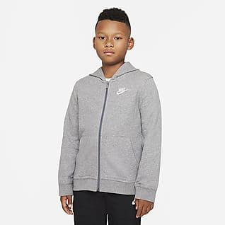 Nike Sportswear Club Μπλούζα με κουκούλα και φερμουάρ σε όλο το μήκος από ύφασμα French Terry για μεγάλα αγόρια