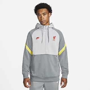 Λίβερπουλ Ανδρική φλις ποδοσφαιρική μπλούζα με κουκούλα και φερμουάρ στο μισό μήκος