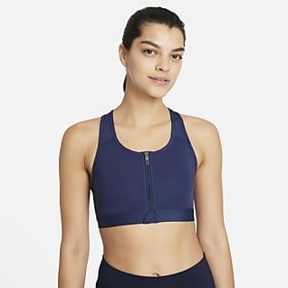 Nike Dri-FIT Swoosh Bra deportivo con cierre al frente y almohadilla de media sujeción para mujer