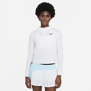 NikeCourt Dri-FIT Victory Damska koszulka do tenisa z długim rękawem i zamkiem 1/2