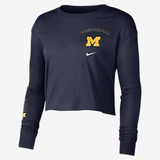 Nike College (Michigan) Women's Long-Sleeve Crop Sweatshirt