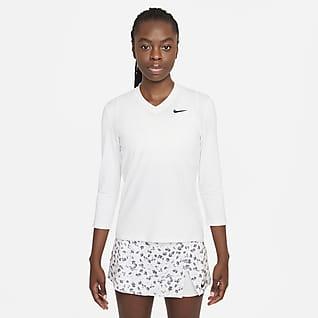 NikeCourt Dri-FIT UV Victory Tennisoberteil mit 3/4-Ärmel für Damen