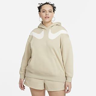 Nike Sportswear Swoosh Felpa con cappuccio oversize in fleece (Plus size) - Donna