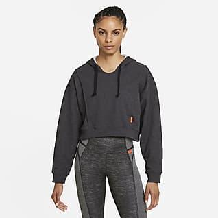 Nike Dri-FIT Γυναικεία φλις μπλούζα προπόνησης crop με κουκούλα