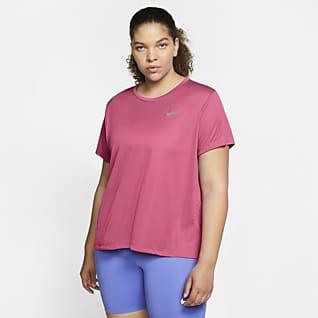 Nike Miler Γυναικεία κοντομάνικη μπλούζα για τρέξιμο (μεγάλα μεγέθη)