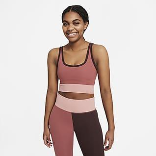 Nike Luxe Женская укороченная майка с цветовыми блоками для тренинга