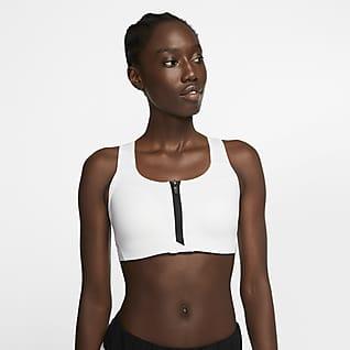 Nike Dri-FIT Shape Bra deportivo de sujeción alta con cierre delantero con almohadilla para mujer