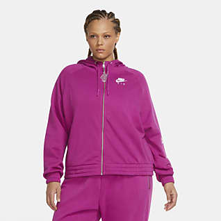 Nike Air Fleece-Hoodie mit durchgehendem Reißverschluss für Damen (große Größe)