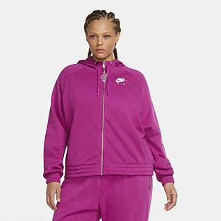Nike Air Fleecehettejakke med hel glidelås til dame (Plus size)