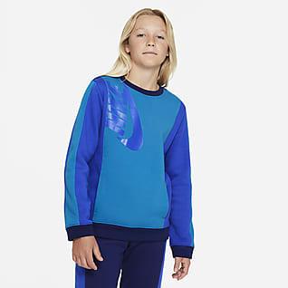 Nike Sportswear Amplify Sudadera de cuello redondo de tejido Fleece para niño talla grande