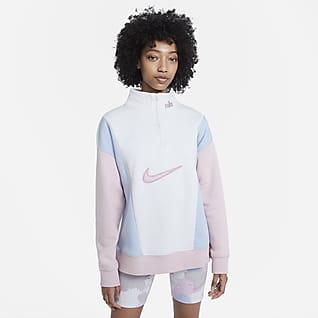 Nike Sportswear Camisola de lã cardada com fecho a 1/4 para mulher