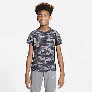 Nike Dri-FIT Mønstret treningsoverdel til store barn (gutt)