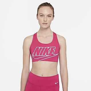 Nike Dri-FIT Swoosh Orta Destekli Dolgusuz Logolu Kadın Spor Sütyeni