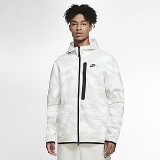 Nike Sportswear Tech Fleece Hosszú cipzáras, kapucnis, terepmintás férfi pulóver