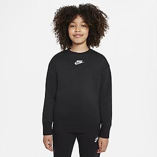 Nike Sportswear Club Fleece Sweatshirt med rund hals til større børn (piger)