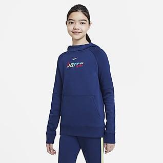 FC Barcelona Dzianinowa bluza piłkarska z kapturem dla dużych dzieci