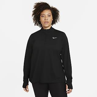 Nike Женская беговая футболка с молнией на половину длины (большие размеры)
