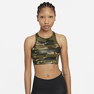 Nike Dri-FIT Swoosh Damski stanik sportowy z jednoczęściową wkładką i płytkim dekoltem zapewniający średnie wsparcie