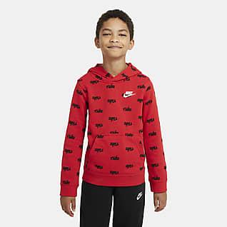 Nike Sportswear Sudadera con capucha sin cierre estampada para niños talla grande