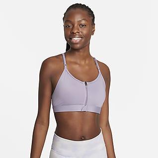 Nike Dri-FIT Indy Zip-Front Αθλητικός στηθόδεσμος ελαφριάς στήριξης με ενίσχυση