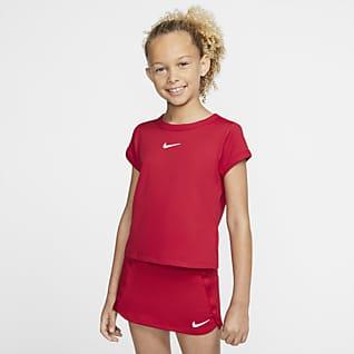 NikeCourt Dri-FIT Tenniströja för ungdom (tjejer)