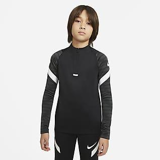 Nike Dri-FIT Strike Ποδοσφαιρική μπλούζα προπόνησης με φερμουάρ στο 1/4 του μήκους για μεγάλα παιδιά