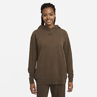 Nike Sportswear Essential Collection Γυναικεία φλις μπλούζα με κουκούλα και ξεθωριασμένη όψη