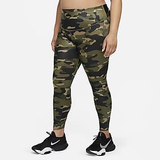 Nike Dri-FIT One Leggings de tiro medio con estampado camuflajeado para mujer (talla grande)