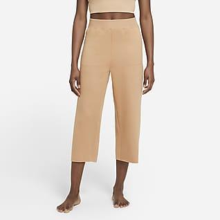 Nike Yoga Luxe Crop-Fleece-Hose für Damen