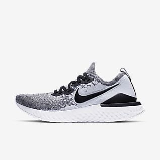 nike running epic react flyknit trainers in grey and black