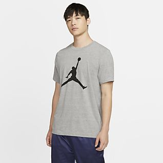 Nike Men/'s Air Jordan Jumpman Vertical Logo Basketball Gray Grey T-Shirt