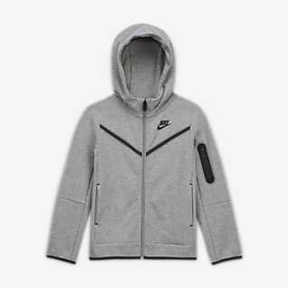 Nike Sportswear Tech Fleece Μπλούζα με κουκούλα και φερμουάρ σε όλο το μήκος για μικρά παιδιά
