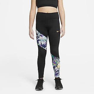 Nike Dri-FIT One Leggings til store barn (jente) (utvidet størrelse)