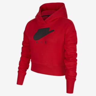 Nike Air Sudadera con capucha corta de tejido French Terry para niña talla grande