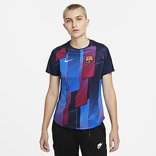 FC Barcelona Camiseta de fútbol de manga corta para antes del partido para mujeres