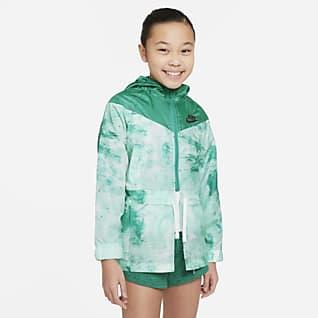 Nike Sportswear Windrunner Chamarra con estampadoTie-Dye para niñas talla grande