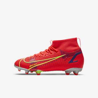 Nike Jr. Mercurial Superfly 8 Academy MG รองเท้าสตั๊ดฟุตบอลเด็กเล็ก/เด็กโตสำหรับพื้นหลายประเภท